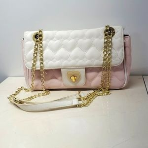 Betsy Johnson Quilted Pink & White Tote Bag